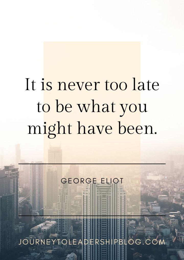 Quote Of The Week #117 It is never too late to be what you might have been. —George Eliot #quote #quotes #success #purpose #hope #inspiration