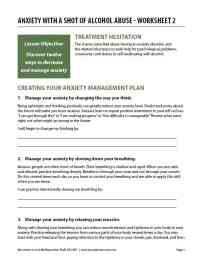 Anxiety with a Shot of Alcohol Abuse - Worksheet 2 (COD)