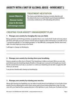 Anxiety with a Shot of Alcohol Abuse – Worksheet 2 (COD)