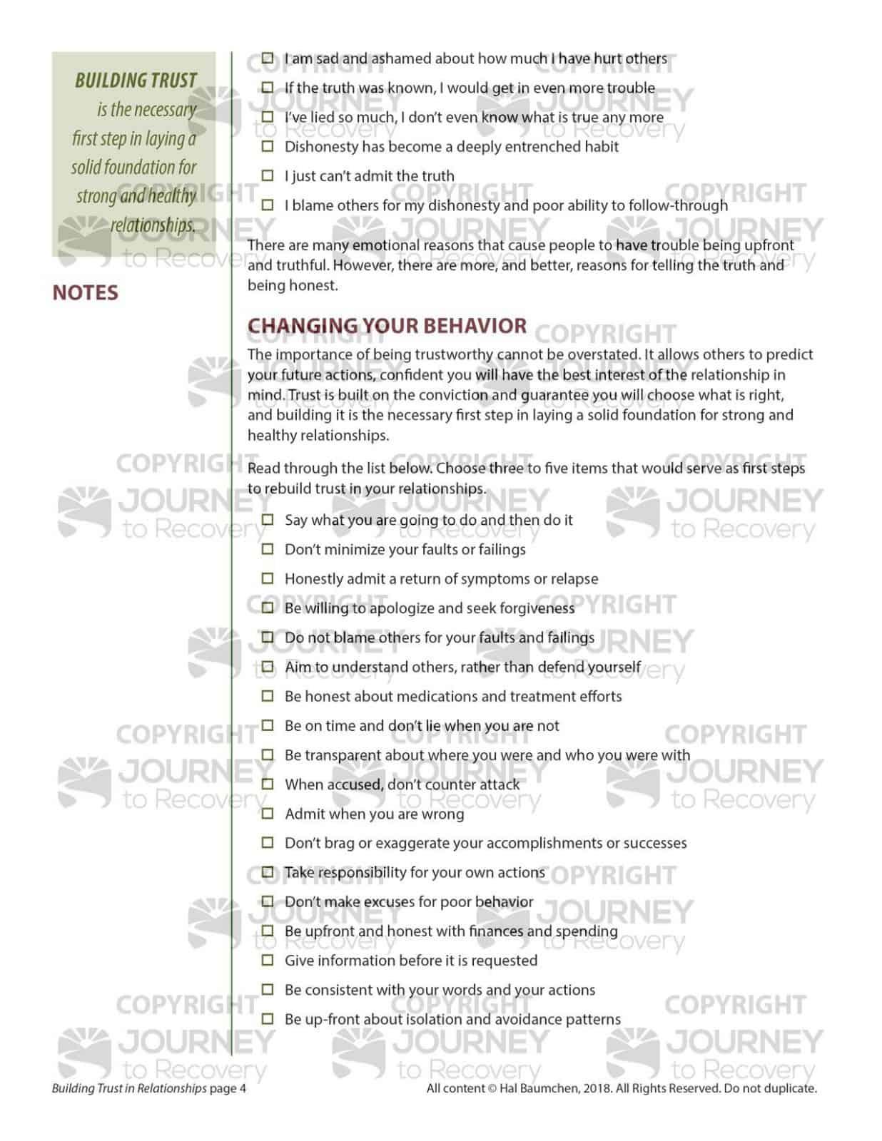 Building Healthy Relationships Worksheets