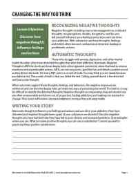 Changing the Way You Think (COD Worksheet)