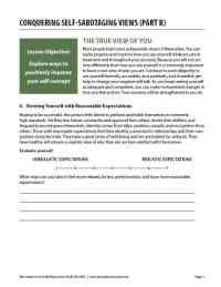 Conquering Self-Sabotaging Views - Part B (COD Worksheet)