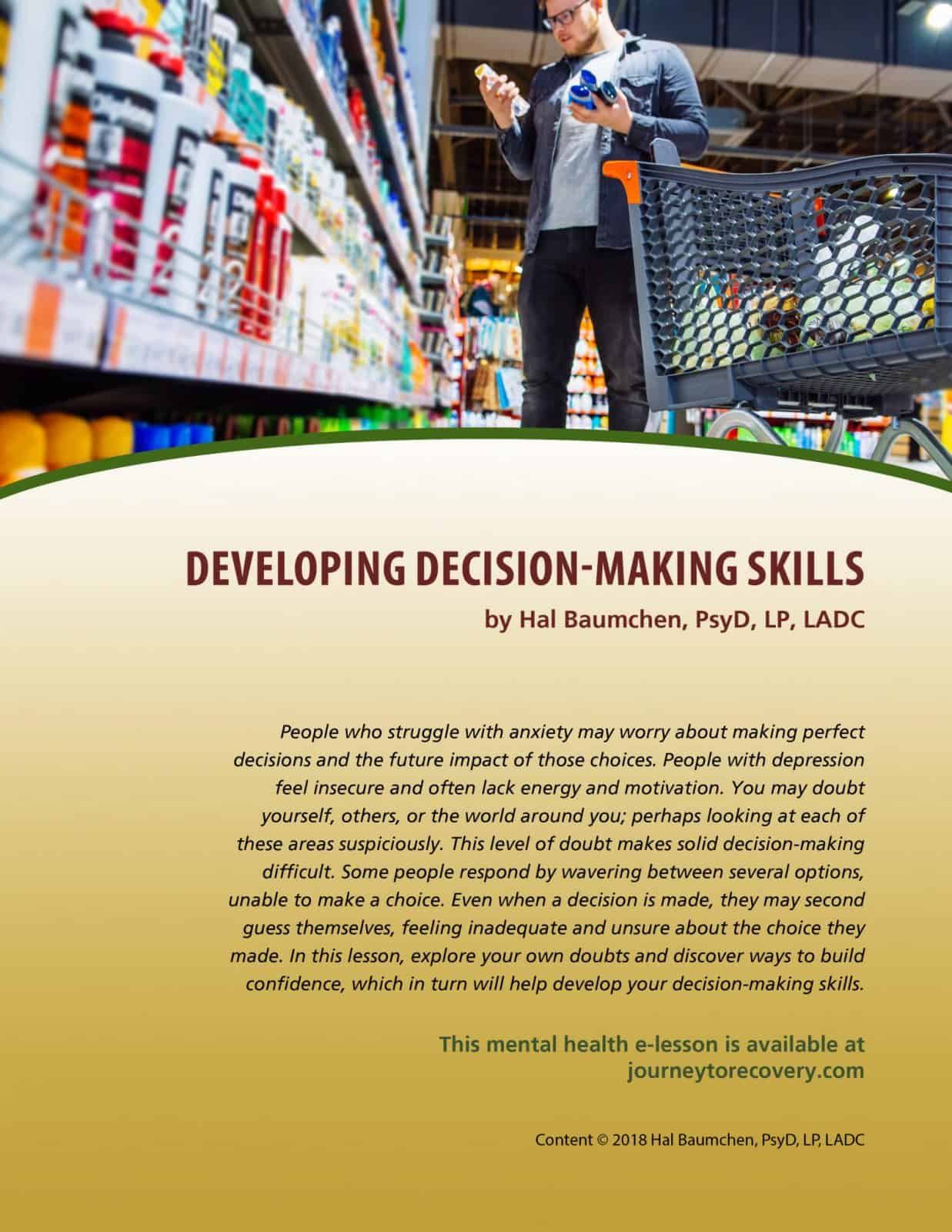 Developing Decision Making Skills Mh Lesson