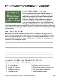 Developing Frustration Tolerance - Worksheet 1 (COD)