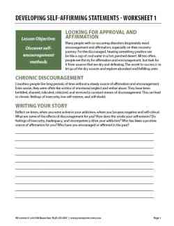 Developing Self-Affirming Statements – Worksheet 1 (COD)
