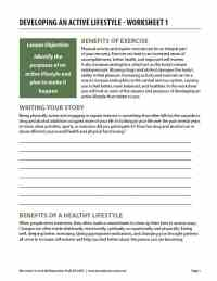 Developing an Active Lifestyle - Worksheet 1 (COD)