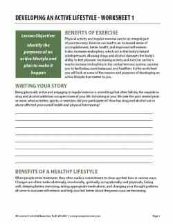 Developing an Active Lifestyle – Worksheet 1 (COD)