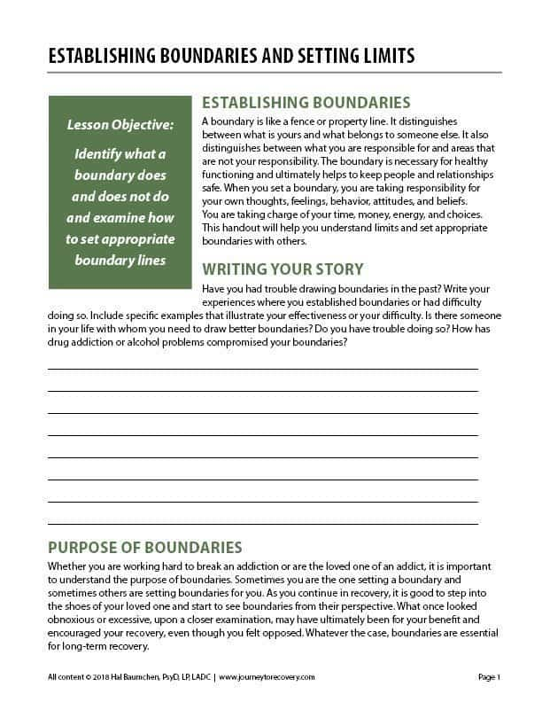 Establishing Boundaries And Setting Limits Cod Worksheet Journey To Recovery