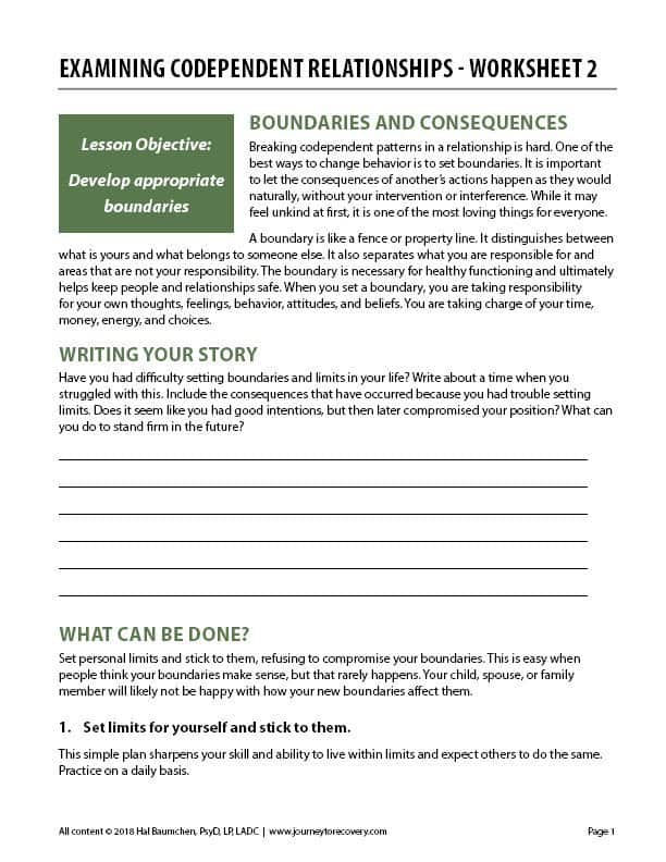 Examining Codependent Relationships – Worksheet 2 ...