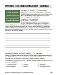 Examining Common Anxiety Disorders - Worksheet 1 (COD)