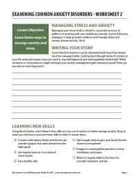 Examining Common Anxiety Disorders - Worksheet 2 (COD)