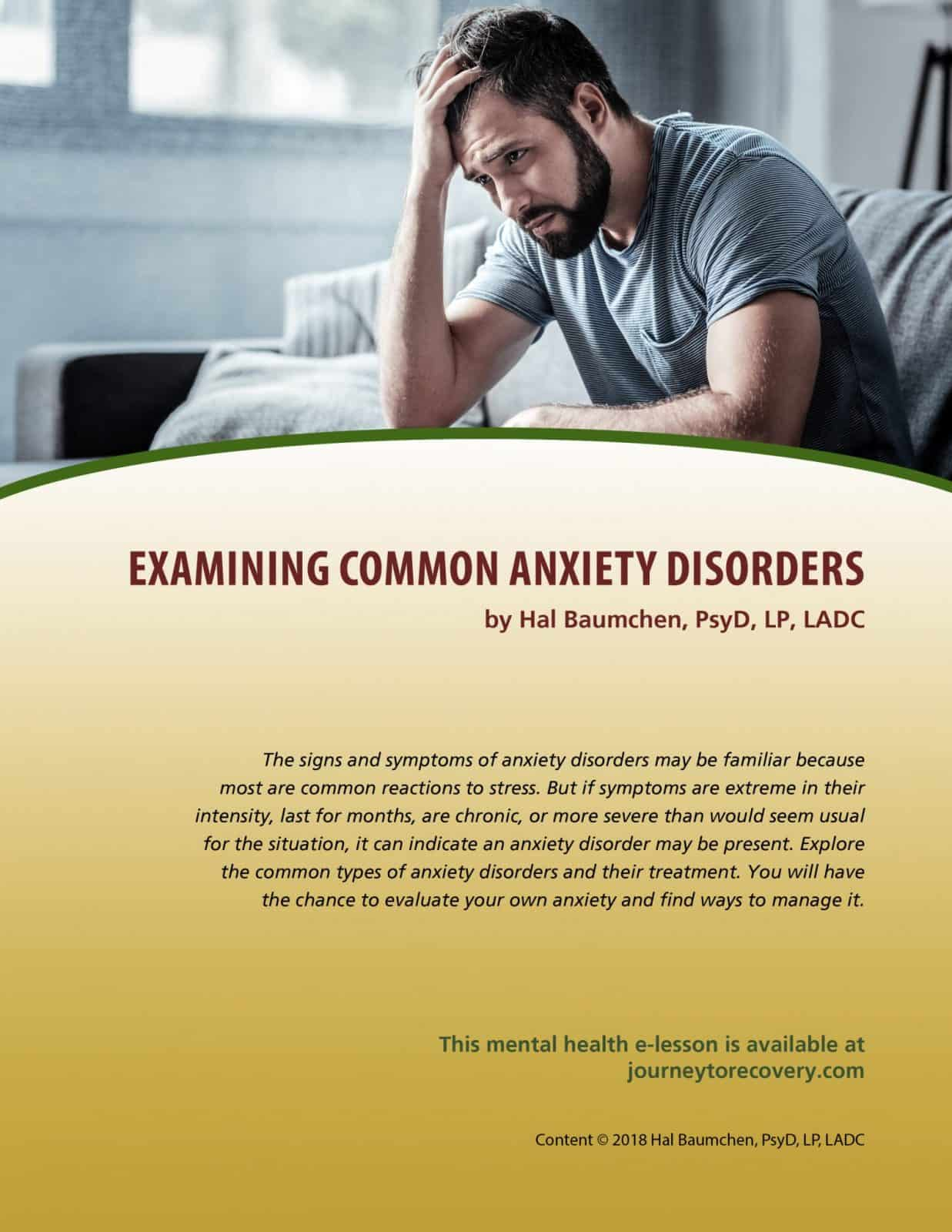 Examining Common Anxiety Disorders Mh Lesson