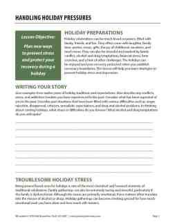 Handling Holiday Pressures (COD Worksheet)