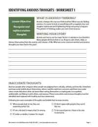 Identifying Anxious Thoughts - Worksheet 1 (COD)