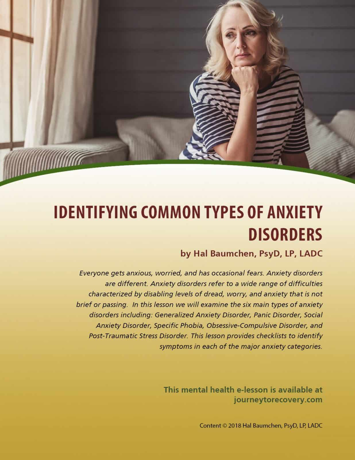 Identifying Common Types Of Anxiety Disorders Mh Lesson