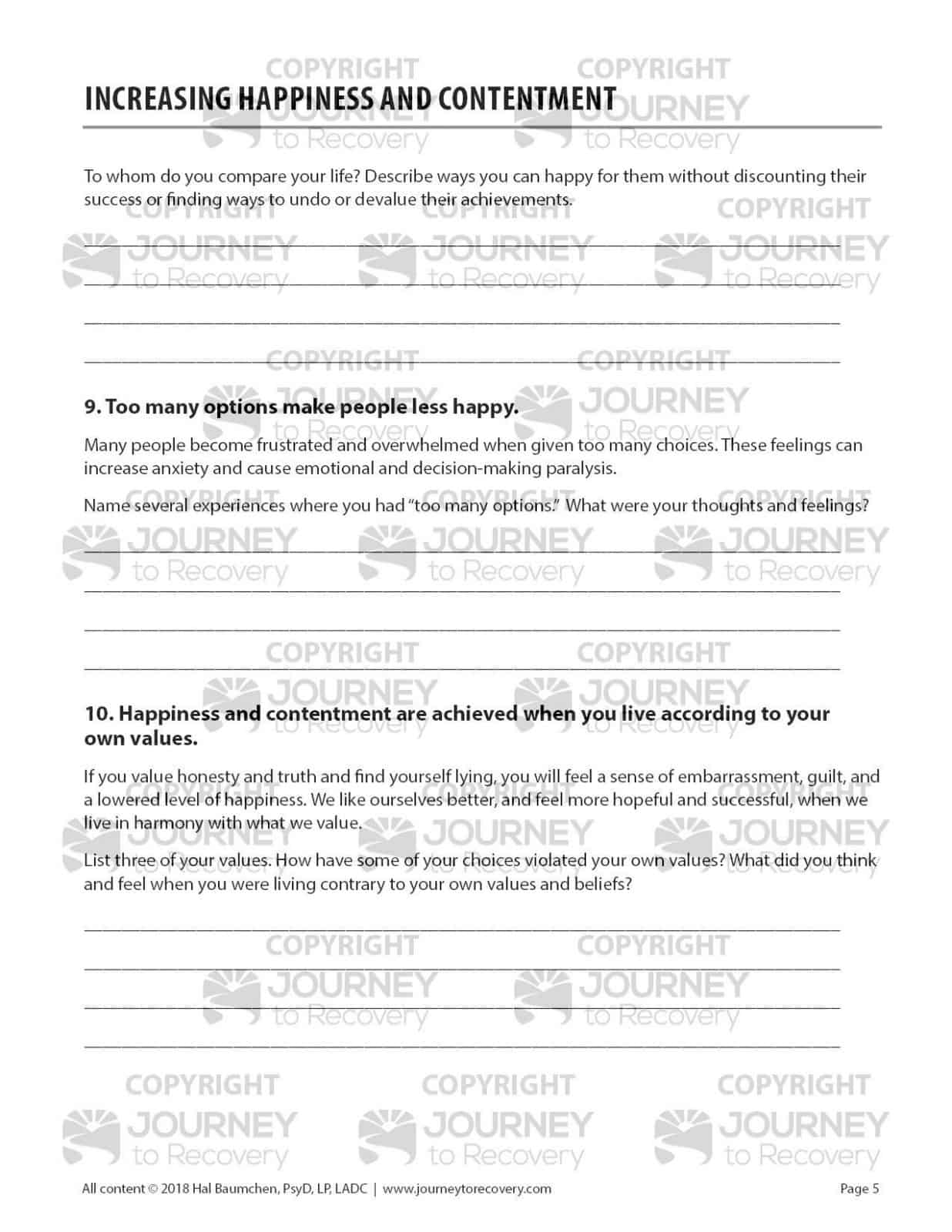 Increasing Happiness And Contentment Cod Worksheet