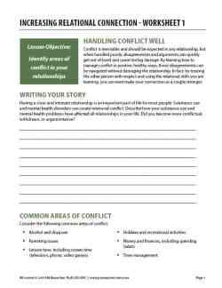 Increasing Relational Connection – Worksheet 1 (COD)
