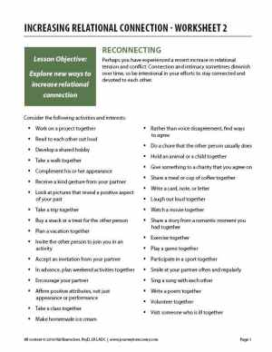 Increasing Relational Connection – Worksheet 2 (COD)