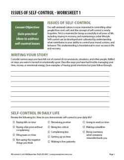Issues of Self-Control – Worksheet 1 (COD)