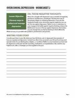 Overcoming Depression – Worksheet 2 (COD)