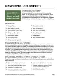 Raising Your Self-Esteem - Worksheet 1 (COD)