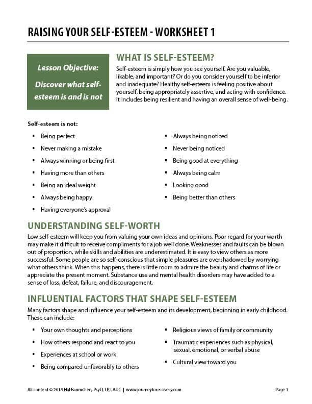 Raising Your Self-Esteem - Worksheet 1 (COD) | Journey to Recovery