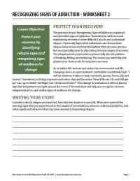Recognizing Signs of Addiction - Worksheet 2 (COD)