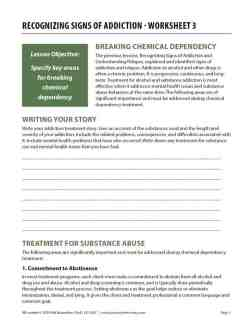 Recognizing Signs of Addiction – Worksheet 3 (COD)