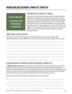 Reducing Relational Conflict – Part A (COD Worksheet)