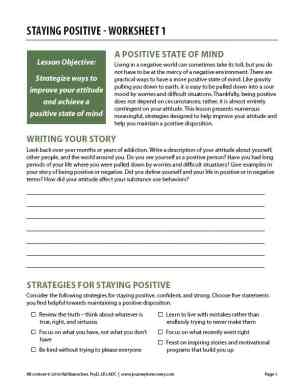 Staying Positive – Worksheet 1 (COD)
