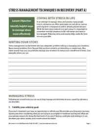Stress Management Techniques in Recovery - Part A (COD Worksheet)