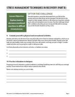 Stress Management Techniques in Recovery – Part B (COD Worksheet)