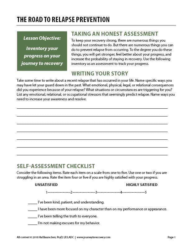 The Road to Relapse Prevention (COD Worksheet) | Journey ...
