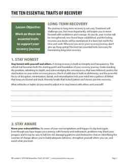 The Ten Essential Traits of Recovery (COD Worksheet)