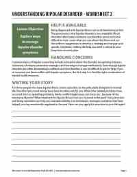 Understanding Bipolar Disorder - Worksheet 2 (COD)