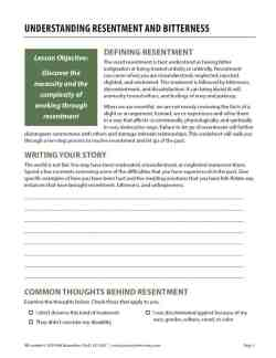 Understanding Resentment and Bitterness (COD Worksheet)