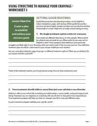 Using Structure to Manage Your Cravings - Worksheet 3 (COD)