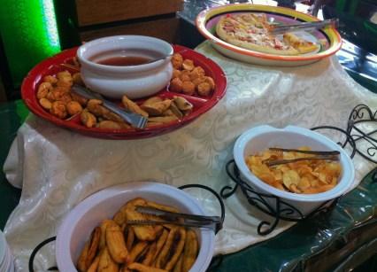 Pizza, fried banana, fishballs
