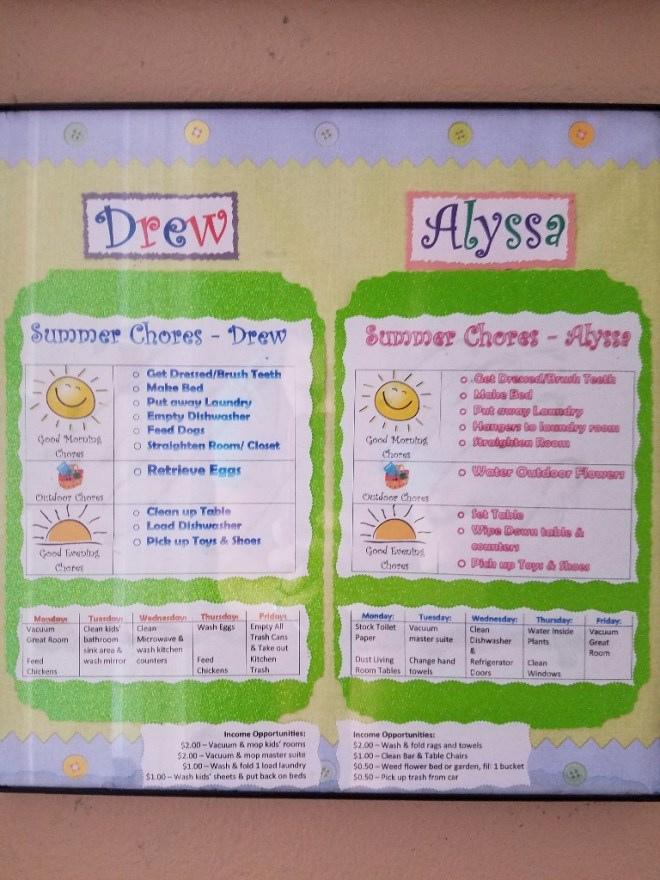 Summer Chore Chart for 9 and 5 year old | Journey with Jill