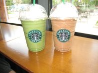 Green Tea and Mocha Frappuccinos