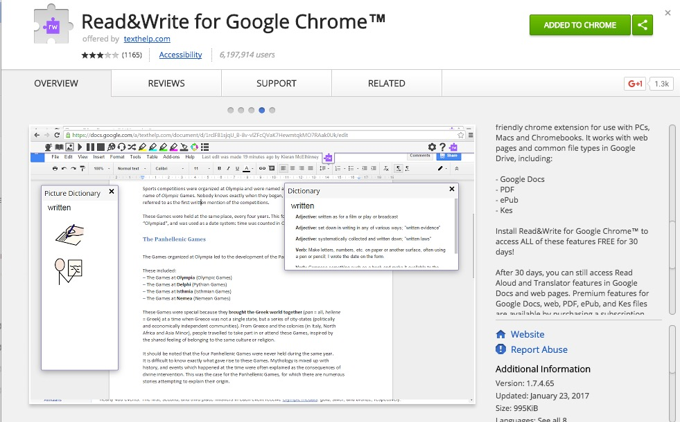 Read & Write Extension for Accessibility in the Classroom