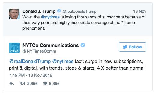 Trump, NYT'nin 'Trump fenomenini' yanlış aktardığı için abone kaybettiğini iddia etmişti.