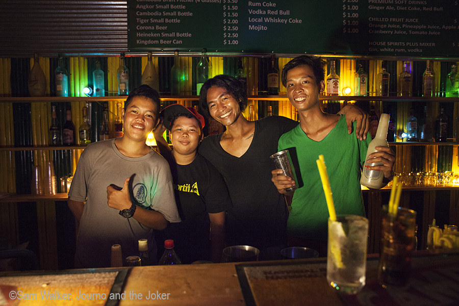 Bar tenders at Peace and Love Cafe, Siem Reap