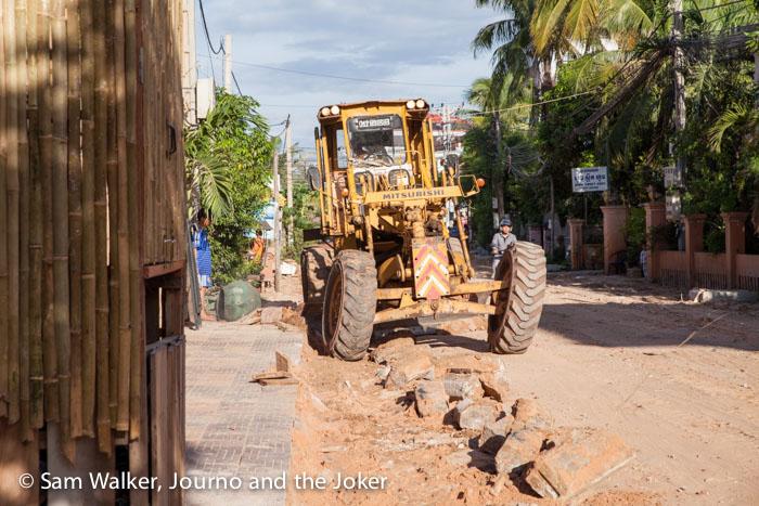 Grader at work, Cambodia