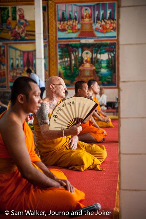 Monks at Phchum Ben ceremony, Siem Reap