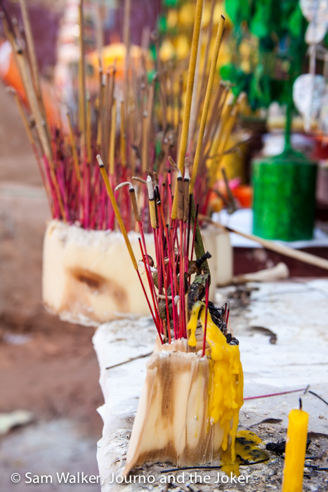 Incense burning for Khmer New Year