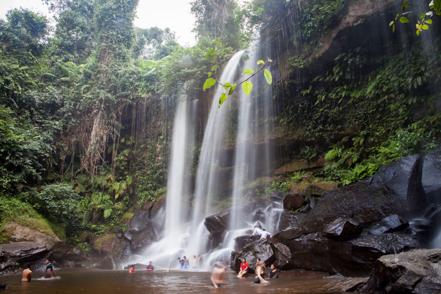 The waterfall at Phnom Kulen, Cambodia