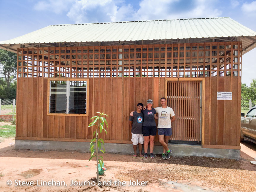 Volunteer Building Cambodia community centre classroom