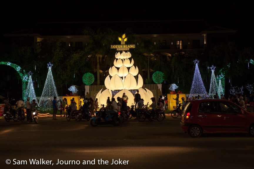 Christmas lights in Siem Reap