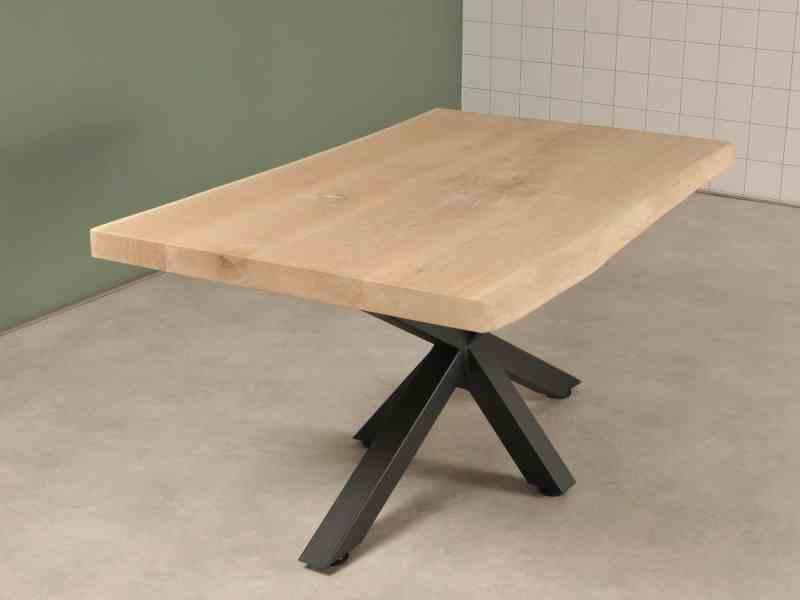 Eiken salon tafel met spinpoot